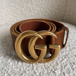 Gucci leather belt with double G buckle brown